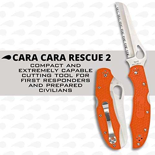 """Spyderco Byrd Cara Cara 2 Rescue Lightweight Folding Knife with 3.88"""" Stainless Steel Sheepfoot Blade and High Performance Orange FRN Handle - SpyderEdge - BY17SOR2"""