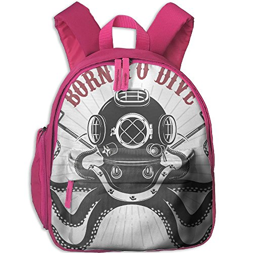 SarahKen An Octopus With Two Tridents And Diver Helmet Pattern Born To Dive Boys And Girls School Backpack Pink 12.5