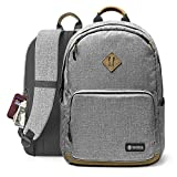 tomtoc Durable College High School Book Bag, Travel Backpack Fits 15.6 Inch Laptop & Notebook w/Unisex, Anti-Theft Pocket, Waterproof, Lightweight & Charging Pocket Design, 22L (Grey)