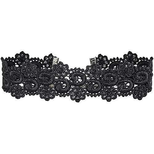 Twilight's Fancy Wide Floral Curl Venice Lace Choker Necklace (Black, Small) (Choker Necklace Floral Rhinestone)