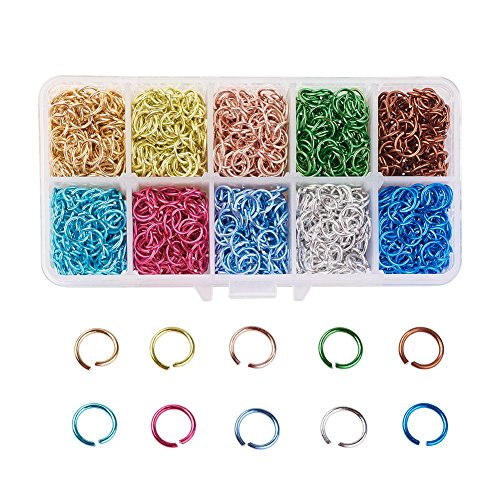 PH PandaHall About 1300pcs 10 Colors 10mm Aluminum Jump Rings Open Jump Rings Connectors for Choker Necklaces Bracelet Chain Maille Jewelry Making