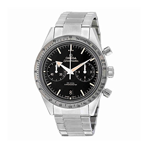 Watch Automatic Omega Wrist (Omega Speedmaster 57 Chronograph Automatic Black Dial Stainless Steel Mens Watch 33110425101002)