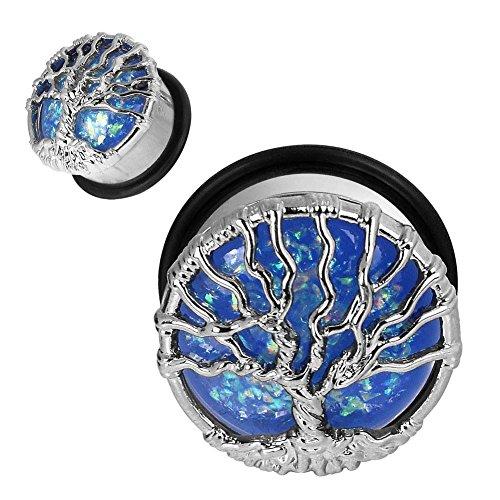 Longbeauty 1Pair Stainless Steel Opal Tree Single Flare with O-Ring Plugs Ear Stretcher Piercing Jewelry Gauge 11/16