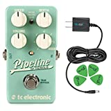 TC Electronic Pipeline Pedal with Tap Tempo –INCLUDES– Blucoil Power Supply Slim AC/DC Adapter for 9 Volt DC 670mA with US Plug AND Blucoil Audio Guitar Picks
