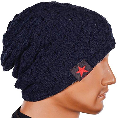 (Men Reversible Slouchy Beanie Hat Unisex Skull Hat (Navy))