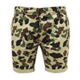 Bellfield Men's Designer Camouflage Army Chino Combat Cotton Summer Pants Shorts Camouflage 32