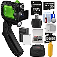 Olympus Tough TG-Tracker UHD 4K Wi-Fi Shock Waterproof Video Camera Camcorder (Green) + 64GB Card + Battery/Charger + Video Light + Buoy + Case Kit