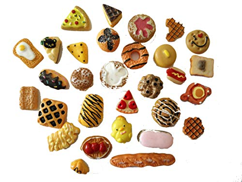 - AMOBESTER Mixed Cabochons Dollhouse Play Food Flatback Resin Embellishments 30Psc Bread