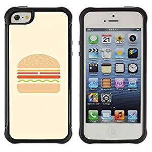 Fuerte Suave TPU GEL Caso Carcasa de Protección Funda para Apple Iphone 5 / 5S / Business Style hamburger yellow brown drawing food