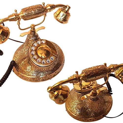 collectiblesBuy Antique Brass Retro Telephone Vintage Desktop Ornament Rotary Dial Replica Home Decor