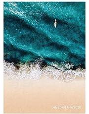 Ocean Surf Waves Medium Monthly 2020 Planner: July 2019 - June 2020 (Academic School Year, Student Planner)