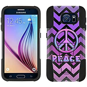 Samsung Galaxy S6 Hybrid Case Peace on Chevron Pink Purple Black 2 Piece Style Silicone Case Cover with Stand for Galaxy S6
