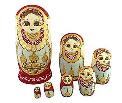 Beautiful Red and Gold Little Girl With Moscow Kremlin Pattern Handmade Wooden Russian Nesting Dolls Matryoshka Dolls Set 7 Pieces For For kids Toy Birthday Christmas Gift Home Decoration