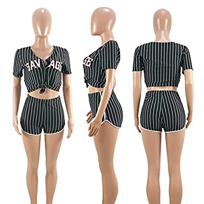 Women's 2 Piece Outfits – Letter Print Short Sleeve Tops + Shorts Set Tracksuit Jumpsuits Rompers at Women's Clothing store