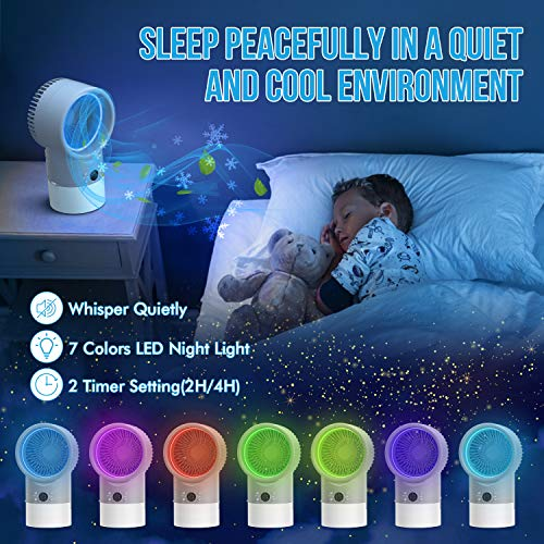 RenFox Enfriador de Aire portátil, Aire Acondicionado de Escritorio, Mini humidificador Ajustable, con Temporizador de Apagado y función de luz Nocturna,para Viajes, Oficina