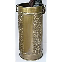 Solid Brass Umbrella Stand Scrollwork Design