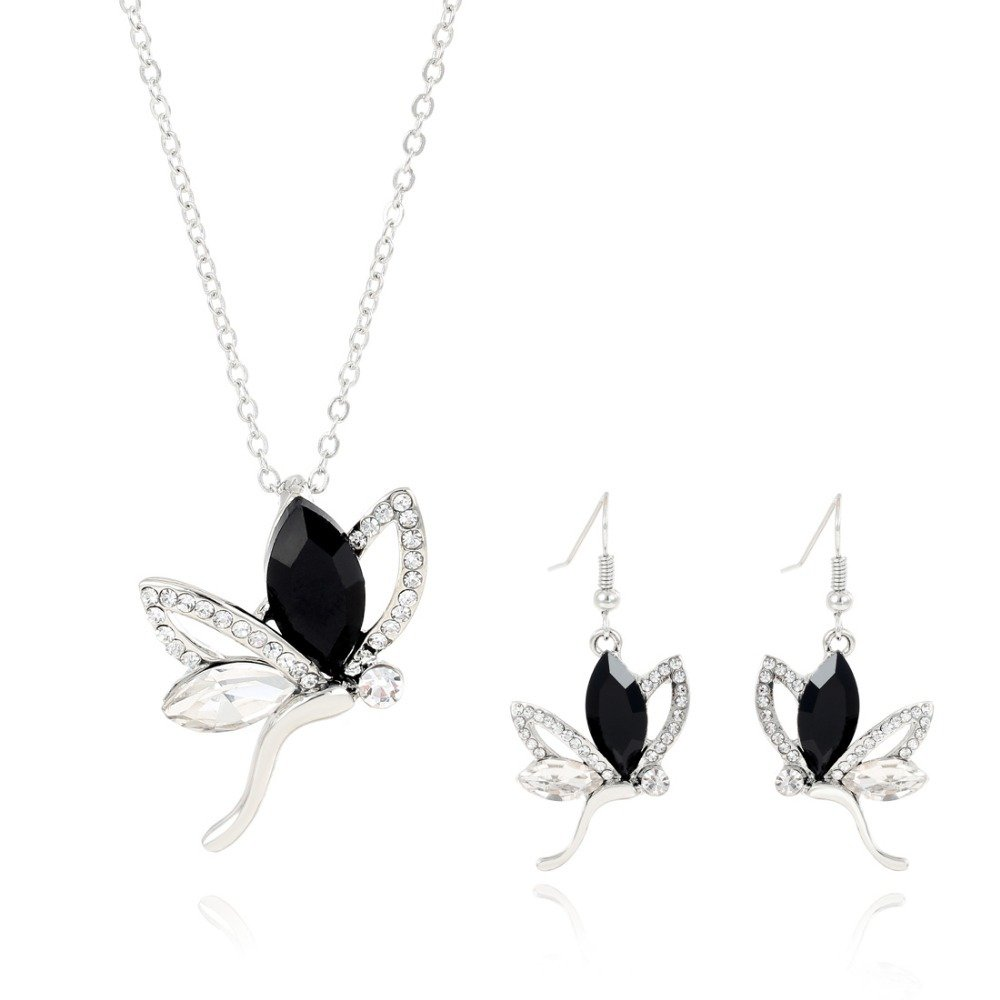 New Arrival Rhinestone Black Butterfly Short Earrings & Silver Plated Chains Necklace Jewelry Set^