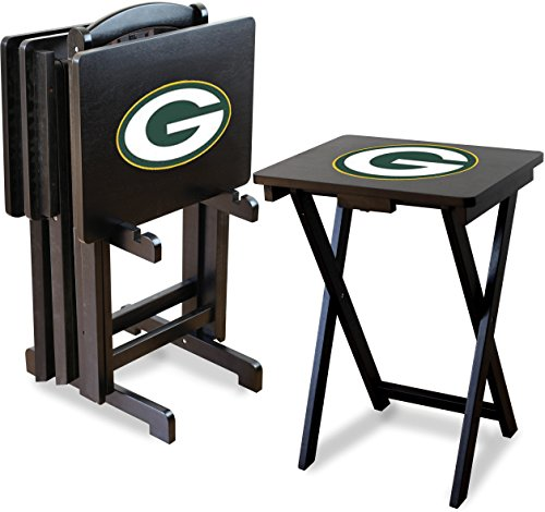 Imperial Officially Licensed NFL Merchandise: Foldable Wood TV Tray Table Set with Stand, Green Bay Packers ()