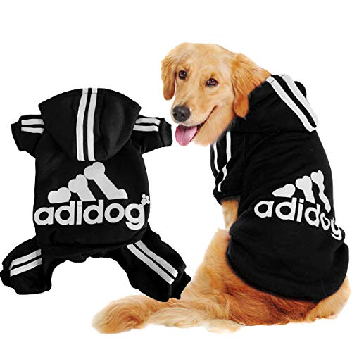 Scheppend Original Adidog Big Dog Large Clothes Sport Hoodies Sweatshirt Pet Winter Coat Retriever Outfits, Black 6XL ()