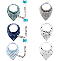 Fitfirst Baby Bib Set, 6 Super Absorbent, Soft, Chic Organic Drool Bibs + 3 Pacifier Clips Holder,Excellent Baby Shower/RegistryGift