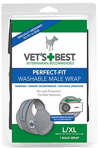 Vet's Best Washable Male Dog Diapers | Absorbent Male Wraps with Leak Protection | Excitable Urination, Incontinence, or Male Marking | Large/XL | 1 Reusable Dog Diaper Per Pack