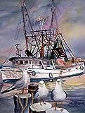 Cheap Caroline's Treasures JMK1196GF Sea Gulls and Shrimp Boats Flag, Small, Multicolor