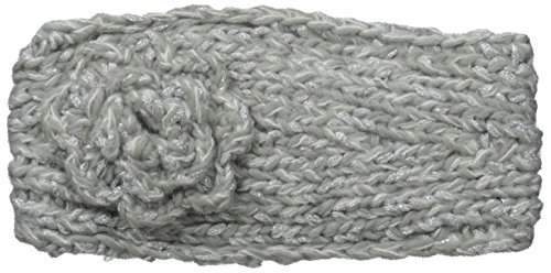 RAMPAGE Women's Marled Knit Flower Headwrap, Grey/Ivory, One Size