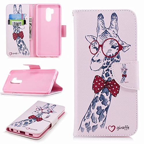 Laybomo LG G7 ThinQ/G710EM Cover Case PU Leather Wallet Folio Flip Case with Card Slots Stand-View Function Pouch Holster with Magnet Buckle Protection, Giraffe Printing
