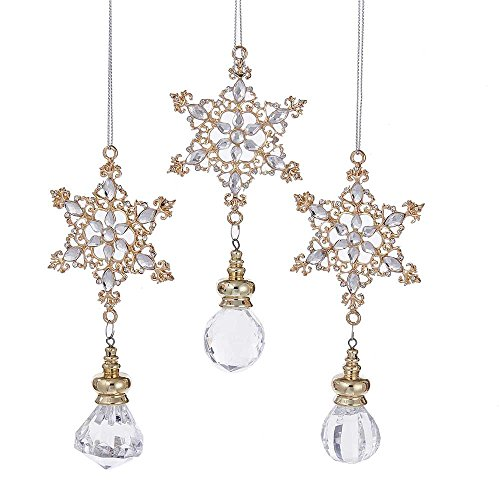 Kurt Adler 5.5-Inch Rose Gold Snowflake Ornament Set of 3 (Christmas Rose Ornaments)