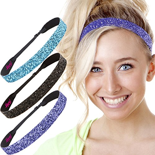 Hipsy Womens Adjustable NO SLIP Bling Glitter Wide Cute Headbands Gift Packs (Wide Purple/Black/Teal 3pk)
