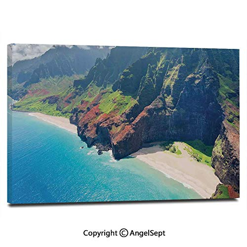 Canvas Prints Modern Art Framed Wall Mural Na Pali Coast on Kauai Island on Hawaii in a Sunny Day Seaside Mountain Skyline Wall Decorations for Living Room Bedroom Dining Room Bathroom Office,