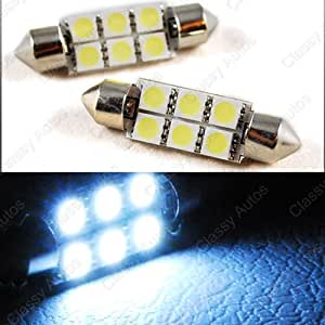 Amazon.com: Classy Autos 36mm Festoon 6 LEDs SMD LED Bulb White for