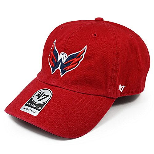 47brand Washington Capitals Exclusive Logo Cleanup Cap Adjustable NHL Dad's Hat - Red