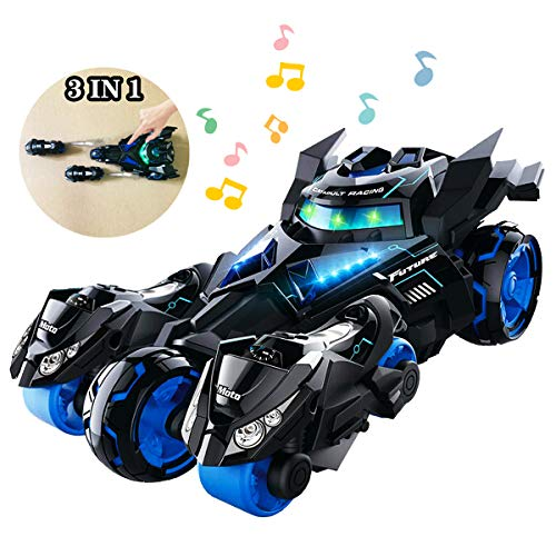 YITOOK Pull Back Vehicles,【Upgraded Version】 3 in 1 Air Pull Back Car Toys Friction Powered Vehicles Include 2 Motocycles with Fun Lights & Sounds for Children Kids Boys Girls (Black)