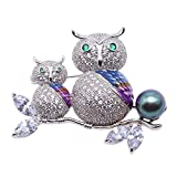 JYX Luxurious Pearl Brooch 10mm Peacock-green Tahitian Cultured Pearl Brooch Pin Owl-style