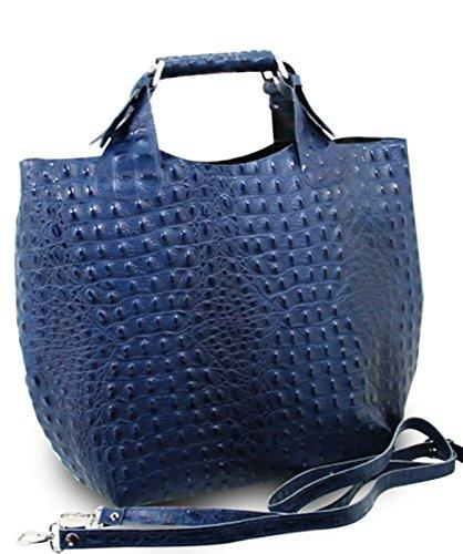 ital. Luxus Damentasche LEDER ALLIGATOR STAMP LADY CUBE BAG TASCHE BLAU
