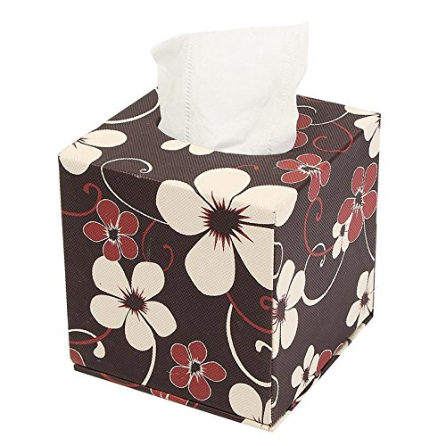 Tissue Box Case PU Leather Home Table Bathroom Decor Square Elegant Paper Napkin Holder Type B (Lamp Collection Romance Table)