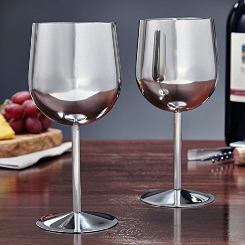 King International Stainless Steel Wine Glass Champagne Goblet Cup Drinking Mug SET OF 6 PIECES Elegant Wine Glasses Made of Dishwasher Safe Unbreakable BPA Free Shatterproof SS Great for Daily by King International (Image #3)