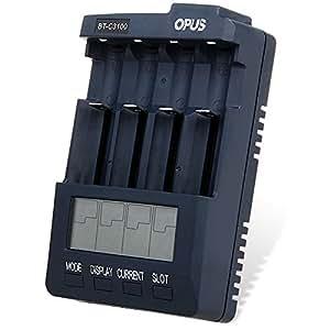Opus BT - C3100 V2.2 Digital Intelligent 4 Slots LCD Battery Charger Compatible with Li-ion NiCd NiMh Batteries - US Plug (PURPLISH BLUE)