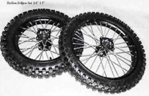 Dirtbike Cross Motorcross Pit Bike 125ccm Reifen Alu Felgen Set Schwarz Eloxiert 17 14 Zoll Hinten Vorne Auto