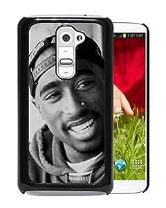 Popular Custom Designed Cover Case With Tupac Shakur (2) Black For LG G2 Phone Case
