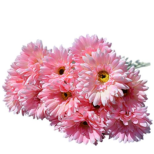 (10x Silk Gerbera Daisy Artificial Flowers Bouquet Home Wedding)