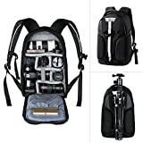 Camera Backpack, K&F Concept Waterproof Camera Bag with Tripod Strap and Rain Cover Large Capacity Rucksack for Digital SLR Camera, Speedlite Flash, Tripod, Laptops, Camera Lens and Accessories