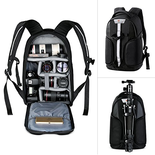 Camera Backpack, K&F Concept Waterproof Camera Bag with Tripod Strap and Rain Cover Large Capacity Rucksack for Digital SLR Camera, Speedlite Flash, Tripod, Laptops, Camera Lens and Accessories by K&F Concept