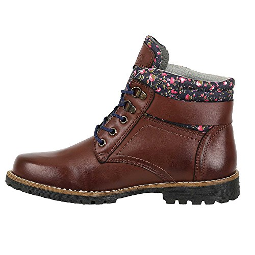 Patterened Trim Cognac w Outdoor High Fashion Discovery Women's Ankle Boot Expedition wxzUnpq8S