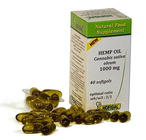 Hanföl 1000mg, Cannabis Sativa Oleum, reines kaltgepresstes Öl, 40 Weichkapseln, optimales Verhältnis Omega-6 / Omega-3: 3/1