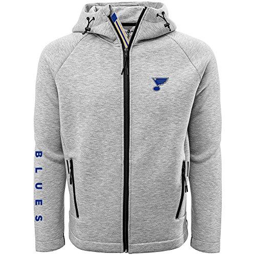 Levelwear LEY9R NHL St. Louis Blues Adult Men Titan Banner Stripe Full Zip Hooded Jacket, X-Large, Heather Pebble