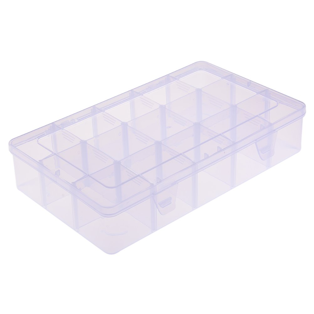 HonXins 15 Compartments Washi Tape Storage Box for Crafts, Art Supplies, Clear