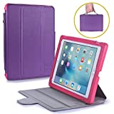 iPad 6 Case for Kids, iPad 5, iPad Pro 9.7, iPad Air 1, iPad Air 2 [Kid Friendly Case w/ Screen Cover] Bam Bino Box Shock Proof iPad Kids Case for Girls | Stand, Handle, Screen Protector [Pink/Purple]