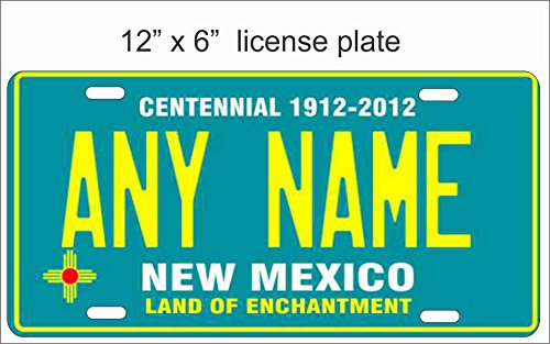 New Mexico State Replica Novelty License Plate for Auto, Mini License Plate For Bicycles, Bikes, Wheelchairs, Golf Carts personalized with your Text custom vanity Decorative plate